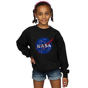 NASA Girls Classic Insignia Logo Distressed Sweatshirt