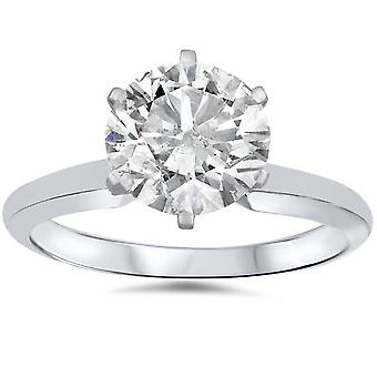 1 1/2ct Solitaire Diamond Engagement Ring 14K White Gold
