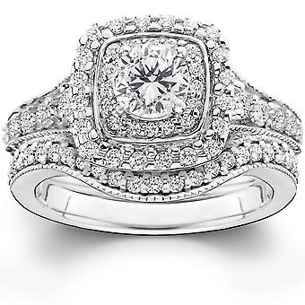 1 3/4ct Double Halo Vintage Style Engagement Wedding Ring Set 14K White Gold