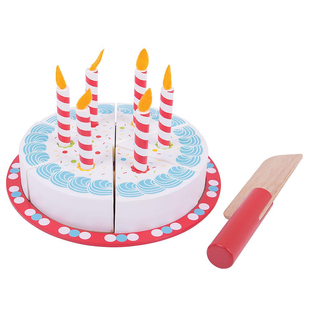 Fantastic Bigjigs Toys Wooden Play Food Birthday Cake With Candles Pretend Personalised Birthday Cards Veneteletsinfo
