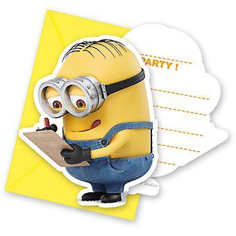 Einladung Invitations Einladungskarte Minions Kinderparty Geburtstag 6 Stück