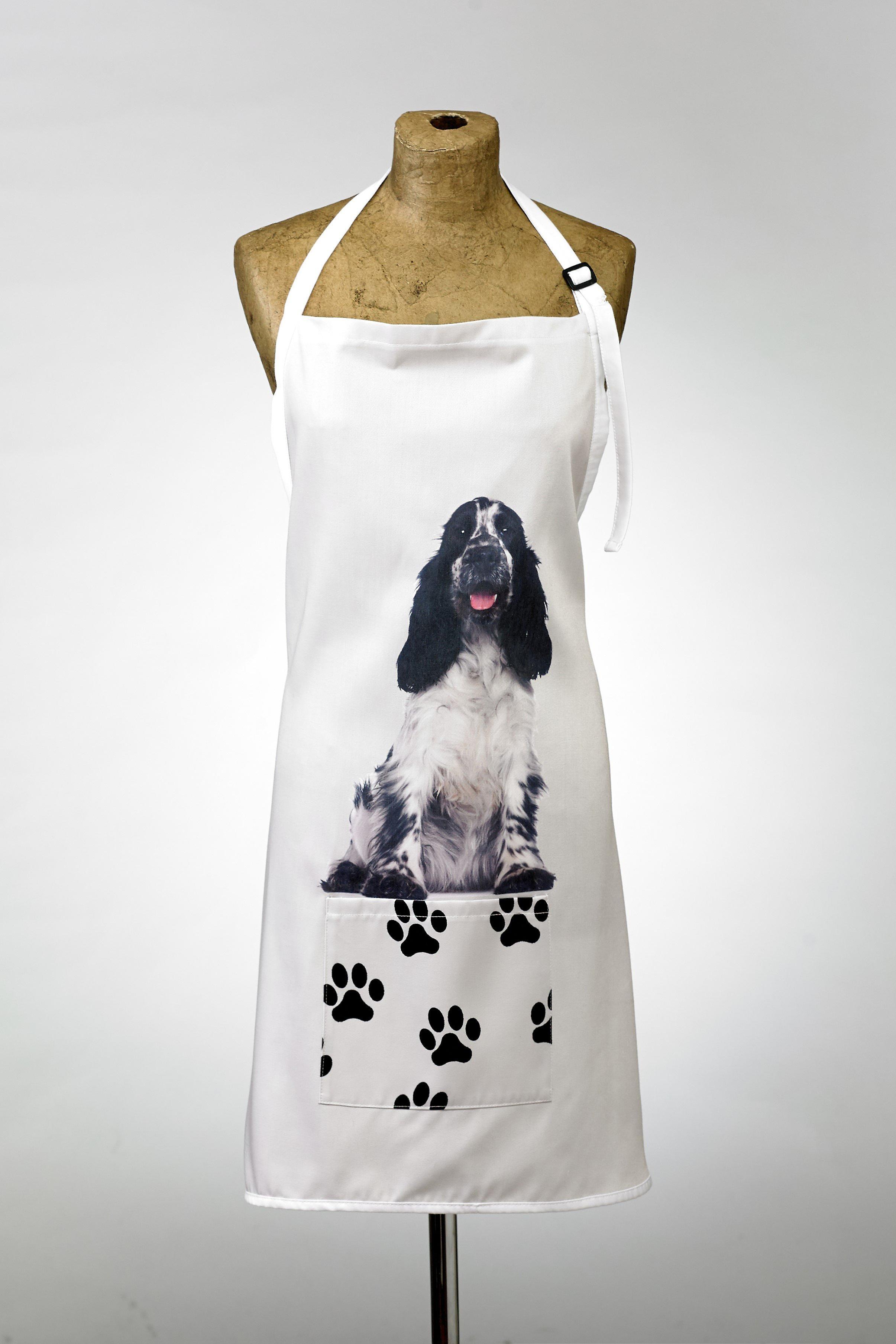 Adorable black & white cocker spaniel design apron