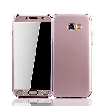 Samsung Galaxy A5 2017 Handy-Hülle Schutz-Case Cover Panzer Schutz Glas Rose
