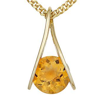 Citrinanhänger perävaunun Kerttu kulta 375 kullan keltainen kulta citrine 1