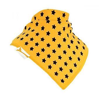 Żółty & brązowy gwiazdek chustka bib