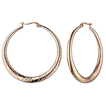 Hoops round stainless steel rose gold color coated earrings