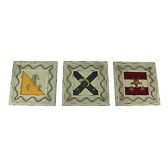 Set of 3 Rustic Coastal Nautical Flag Wooden Wall Hangings