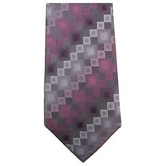 Knightsbridge Neckwear quadrado padrão Tie - rosa/cinza