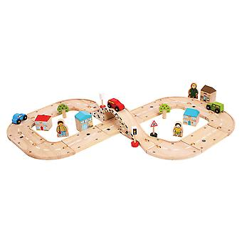 Bigjigs Rail Wooden Figure of Eight Roadway Track Play Set