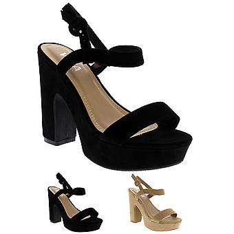 Womens Fashion Strappy Block Heel Platform Open Toe Sandals High Heels UK 3-10