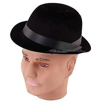Bnov Black Flock Bowler Hat