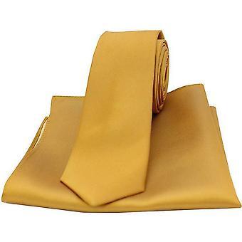 David Van Hagen passenden Satin dünne Krawatte und Einstecktuch Set - Gold