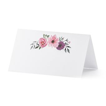 White Wedding Place cards with Floral Design x 25