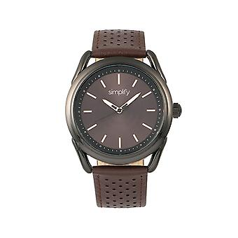 Simplify The 5900 Leather-Band Watch - Black/Brown