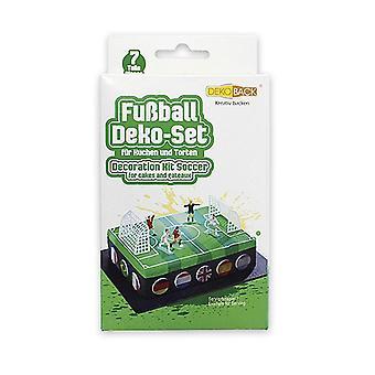 Kuchen Deko-Set Fußball  bunt, aus Kunststoff, 7 teilig.