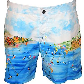Ermenegildo Zegna Lerici Seaview Print Swim Shorts, Azure Blue