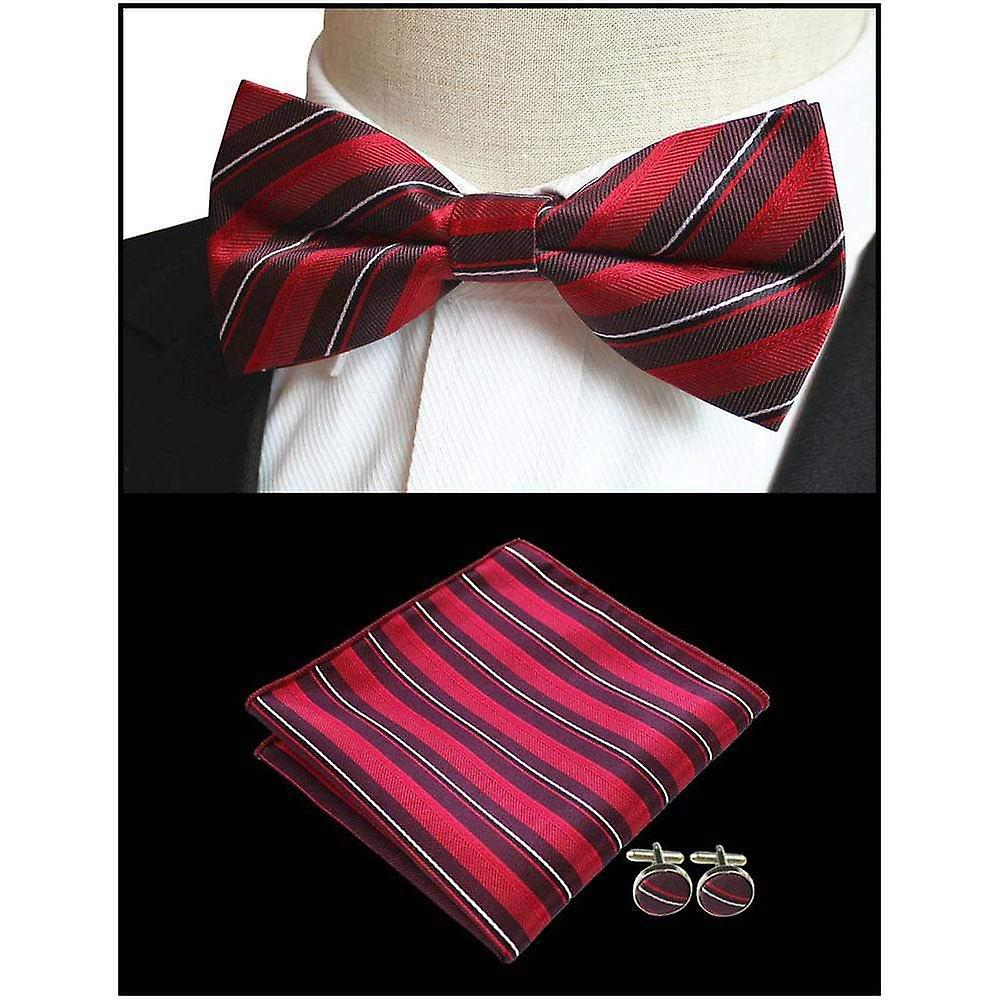 Red & grey stripe bow tie pocket square & cufflink