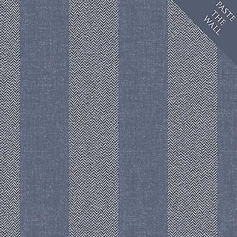 Crown Cotton Tweed Stripe Wallpaper Blue White Textured Vinyl Coat Paste Wall