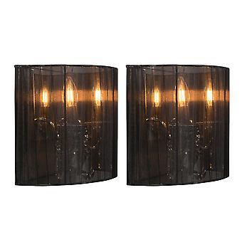 QAZQA conjunto de lámpara de pared 2 Ann-Kathrin 2 cromo con pantalla en negro