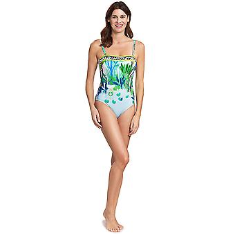 Féraud 3195301-16526 Women's Voyage Sealeaves Blue Costume One Piece Swimsuit