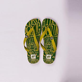 Hydroponic highland flip flops  yellow green