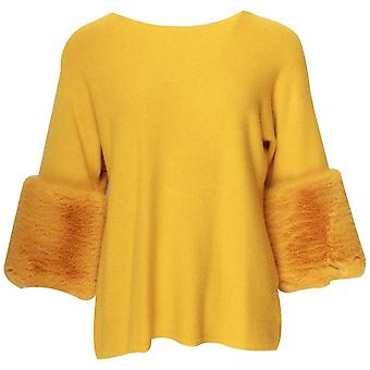 Latte Yellow Knitted Top With Faux Fur Cuffs