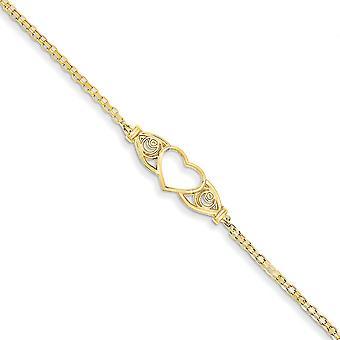14k žlté zlato leštené láska srdce anklet 10 palcov homár pazúry šperky darčeky pre ženy - 2,5 gramov
