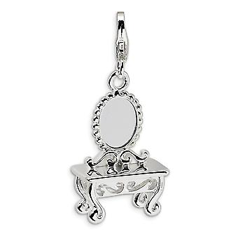 925 Sterling Silver Polished Rhodium plated Fancy Lobster Closure 3 D Vanity With Lobster Clasp Charm Pendant Necklace M