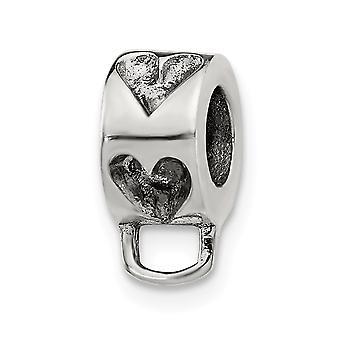 925 Sterling Silver Pulido Reflejos Amor Corazón Loop Haga clic en Abalorios Charm Collar colgante joyas regalos para mujeres