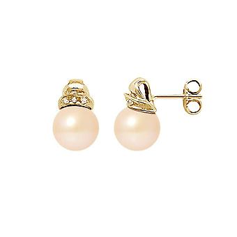 Ohrringe von Apos;Ears Frauen Kultur Perlen der Kultur Rosen, Diamanten 0,06 cts und Gelbgold 750/1000