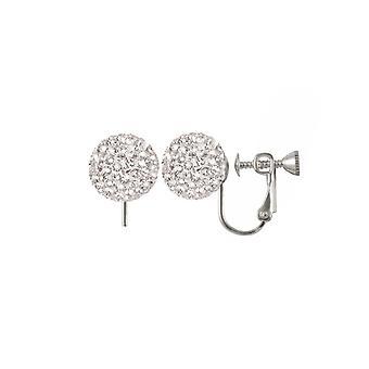 Eeuwige collectie Shamballa glitter bal zilver Toon Stud schroef terug clip op oorbellen