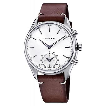 Kronaby S0714-1 Men's Sekel Hybrid Smartwatch Dark Brown Leather