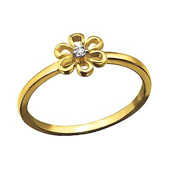 Flower - 925 Sterling Silver Jewelled Rings - W23739x
