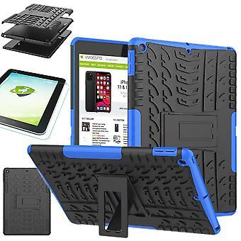 Voor Apple iPad 10,2 inch 2019 7e generatie hybride outdoor beschermende case blauw geval + 0,3 H9 beschermende glas