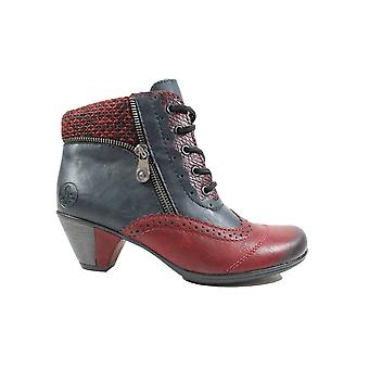 Rieker Anne Marie Y7211-35 multi röd/blå Womens brogue Heeled fotled stövlar