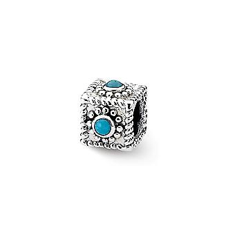 925 Sterling Silver afwerking Reflections Square Gesimuleerdturquoise Bead Charm Hanger Ketting Sieraden Cadeaus voor vrouwen