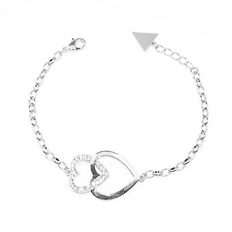 VIP Silver Plated Double Heart Crystal Set Bracelet