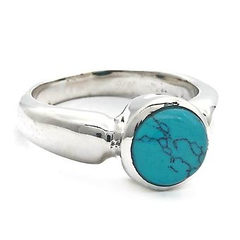 Ring Zilver 925 Sterling Zilver Turquoise Blue Green Stone (Nr: MRI 165)
