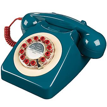 Wild & Wolf 746 Petrol Blue Push Button Retro Telephone