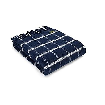 Tweedmill Pure New Wool Chequered Check Throw - Navy