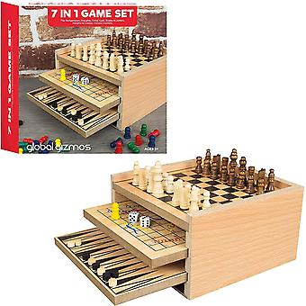 Global Gizmos 7 In 1 Wooden Game Set