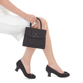 Ruby shoo Isla Grey krijtstreep mid hiel Hof schoen & bijpassende Saigon tas