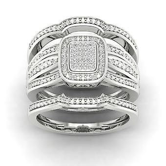 Igi gecertificeerd s925 zilver 0.15ct tdw diamond cluster halo two band bruids set