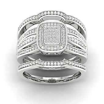 Igi certified s925 silver 0.15ct tdw diamond cluster halo two band bridal set