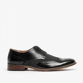Goor Daniel Mens Lace Up Brogue Gibson Chaussure Noire