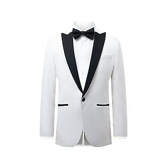 Dobell mens wit fluweel Tuxedo jas regular fit contrast piek revers