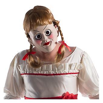 Annabelle Creation Horror Onde Dukke Ghost Halloween Menns Kostyme Maske med Parykk