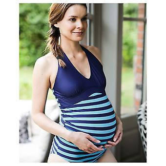 The Essential One Maternity Navy Turquoise Stripe Swimsuit
