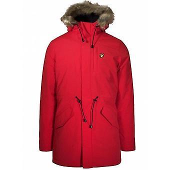 Lyle & Scott Red Winter Micro Fleece Lined Hooded Parka JK925V