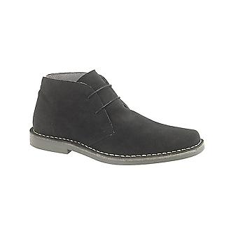 Roamers Black Real Suede 2 Eyelet Desert Boot Textile Lining Tpr Sole